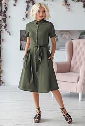 Платье-рубашка хаки Viravi Wear, модель 1010