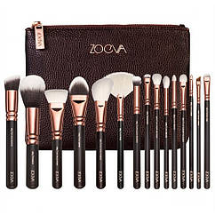 Набор кистей для макияжа ZOEVA 15 шт + косметичка 10009, КОД: 157368