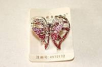 Заколка - краб металлический Бабочка с розовыми камнями
