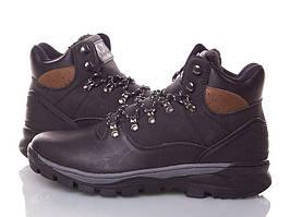 Кожанные зимние мужские ботинки ARRIGO BELLO (BLACK) черные 41р-46р