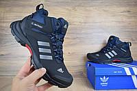 Мужские зимние кроссовки Adidas Climaproof высокие черные с синим Реплика