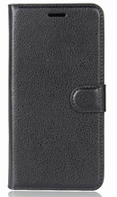 Кожаный чехол-книжка для Meizu M6S черный