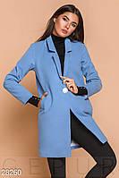 Стильное пальто-пиджак голубого цвета