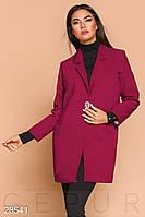 Стильное пальто-пиджак малинового цвета