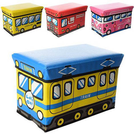 Корзина для игрушек M 3524 (12шт) пуф, 40-22-25см, 4 вида, в кульке,40-24,5-4см