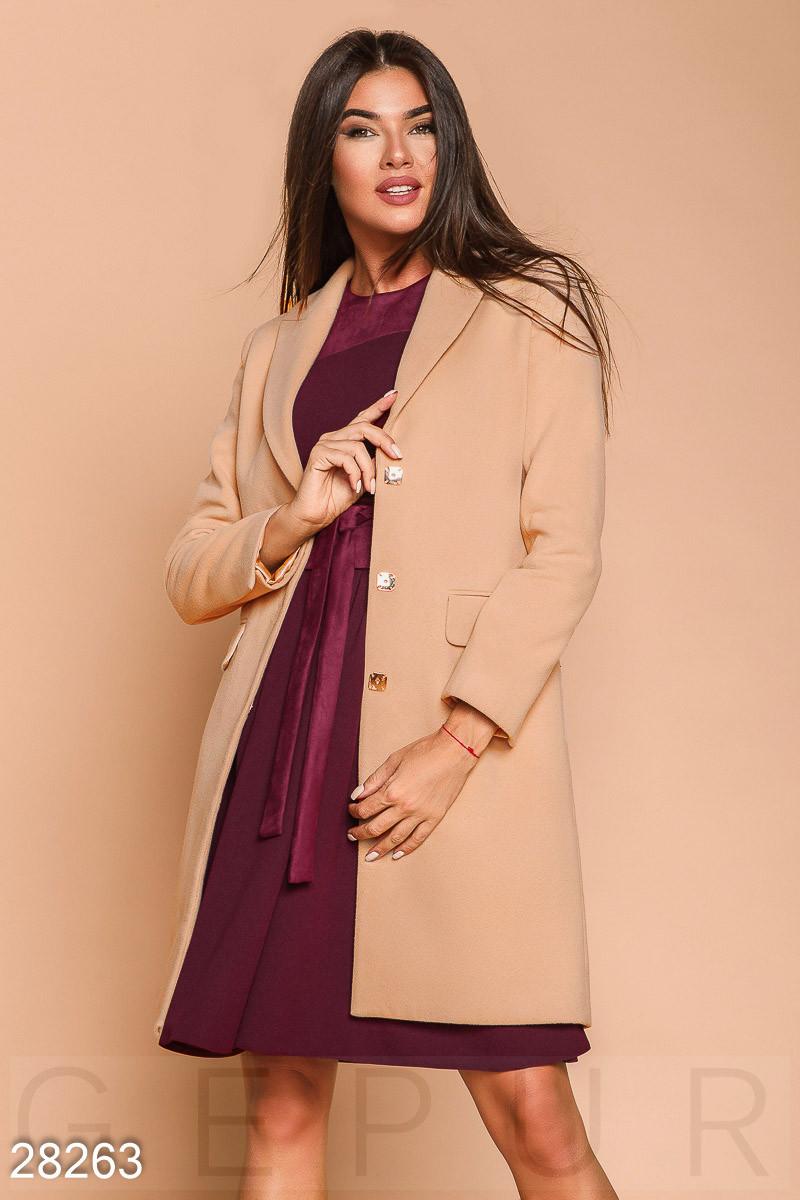 Классическое пальто из эко-кашемира бежевого цвета