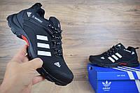 Мужские зимние кроссовки Adidas Climaproof низкие черные/белые полоски Реплика
