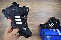 Мужские зимние кроссовки Adidas Climaproof низкие черные с белыми  Реплика
