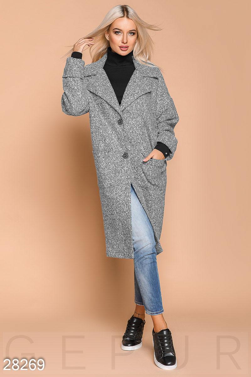 Пальто-кокон серого цвета из букле