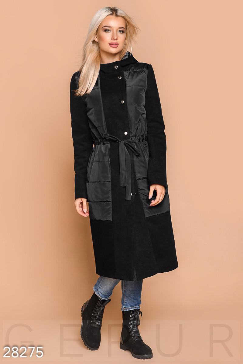 Комфортное комбинированное пальто черного цвета