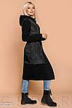 Комфортное комбинированное пальто черного цвета, фото 2