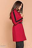 Короткое красное двухцветное пальто с ремнем, фото 2