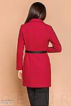 Короткое красное двухцветное пальто с ремнем, фото 3