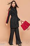 Короткое черное двухцветное пальто с ремнем, фото 2