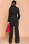 Короткое черное двухцветное пальто с ремнем, фото 3
