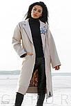 Стильное кашемировое пальто бежевого цвета с нашивками, фото 2