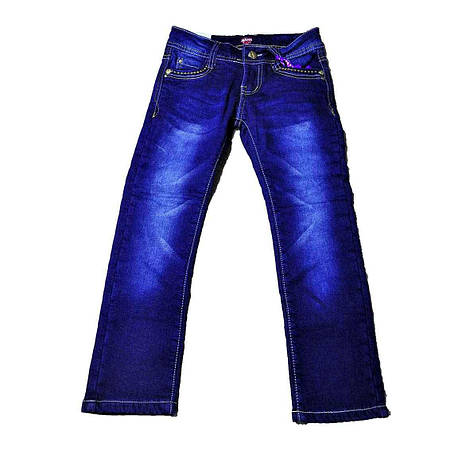 Стильные утепленные джинсы синего цвета для девочки, GRACE