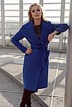 Стильное женское классическое пальто синего цвета, фото 2