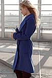 Стильное женское классическое пальто синего цвета, фото 3
