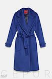 Стильное женское классическое пальто синего цвета, фото 5