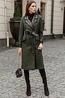 Пальто прямого кроя с кожаными вставками