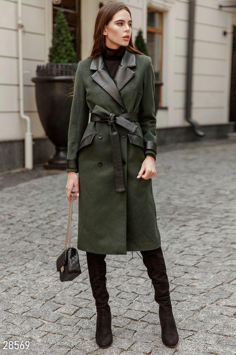 ba54f32f1e6 Пальто прямого кроя с кожаными вставками - LeButon в Одессе
