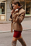 Стильное короткое пальто коричневого цвета с поясом, фото 3