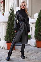 Женское пальто из дубленой эко-кожи черного цвета
