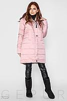 Зимнее теплое пальто розового цвета с капюшоном