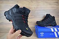 Мужские зимние ботинки Adidas Terrex 465 черные/красные петли Реплика