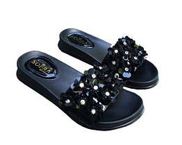 Шлепанцы Allshoes с пайетками 38 Черные (50970/38) КОД: 376638