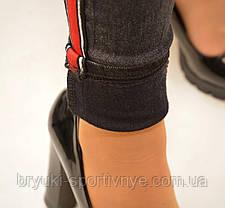 Джеггинсы женские с полосой на флисовой подкладке, фото 3