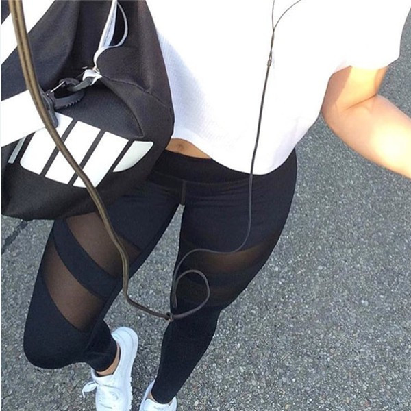 Черные леггинсы для фитнеса №5, — лосины спортивные с сеткой, легинсы для спорта (узкие брюки) S (90-94 бедра)