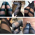 Спортивные лосины №5 L —Черные с сеткой женские, леггинсы для спорта, фото 10