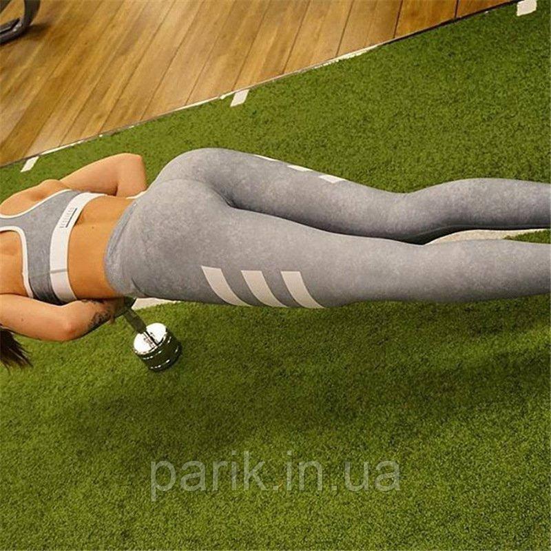 Лосины для фитнеса леггинсы для спорта серые №16 — Размер М L