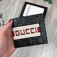 eb9ab44fb80c Удобный кожаный кошелек Gucci с полоской черный натуральная кожа мужской  женский портмоне Гуччи реплика