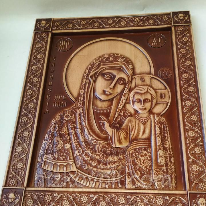 Казанская икона Божьей Матери в окладе 160х200х18 мм