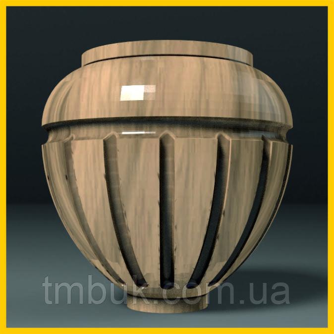 Ножка для шкафа, тумбы, кресла деревянная резная. Круглая с канелюрами. 85 мм.