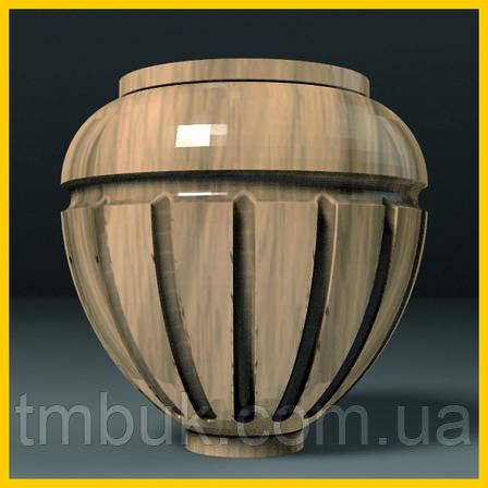 Ножка для шкафа, тумбы, кресла деревянная резная. Круглая с канелюрами. 85 мм., фото 2