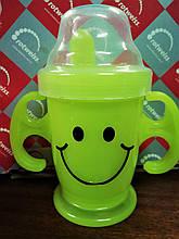 Чашка-поилка пластиковая детская с ручками 13х7,5х14см.
