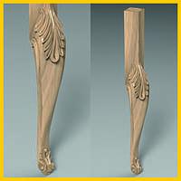 Ножка для стола, консоли кабриоль резная. Гнутая с лепестками из дерева. Удлиненная царга. 730 мм.