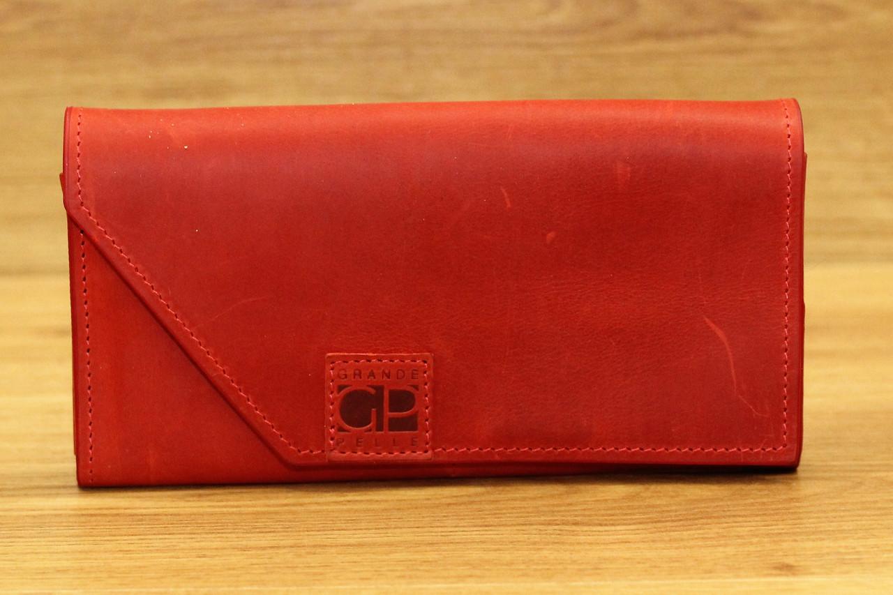 Кожаное портмоне красного цвета фирмы Grande Pelle (13947)