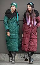 Женский зимний зеленый пуховик-одеяло с вязаным воротником 42-50 р., фото 3