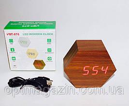 Деревянные часы будильник. Часы-БудильникVST-876с температурой и подсветкой