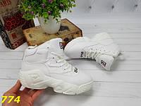 Женские высокие демисезонные кроссовки Фила FILA  Хайтопы Белые, фото 1