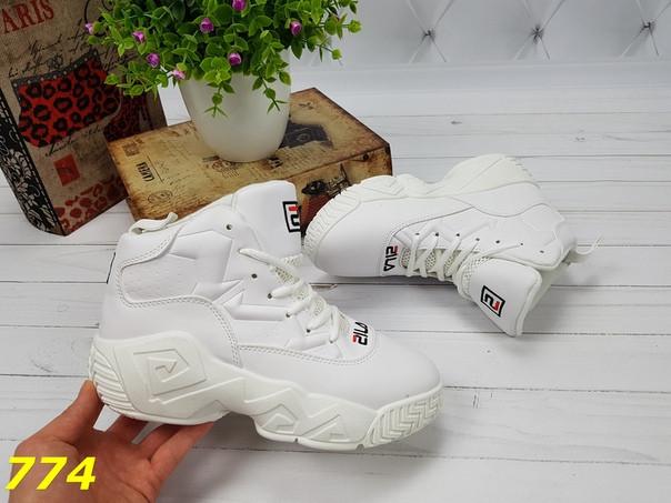 Женские высокие демисезонные кроссовки Фила FILA  Хайтопы Белые