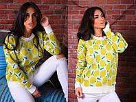 Женский стильный вязаный свитер Лимон, лонгслив, свитшот с ярким принтом - рисунком. Размер единый 42-48. , фото 1