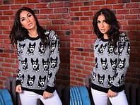 Женский стильный вязаный свитер Собачки, лонгслив, свитшот с ярким принтом - рисунком. Размер единый 42-48. , фото 1