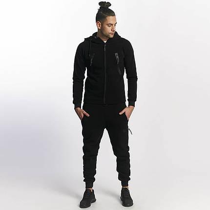 Мужской теплый спортивный костюм с большими карманами черный, фото 2