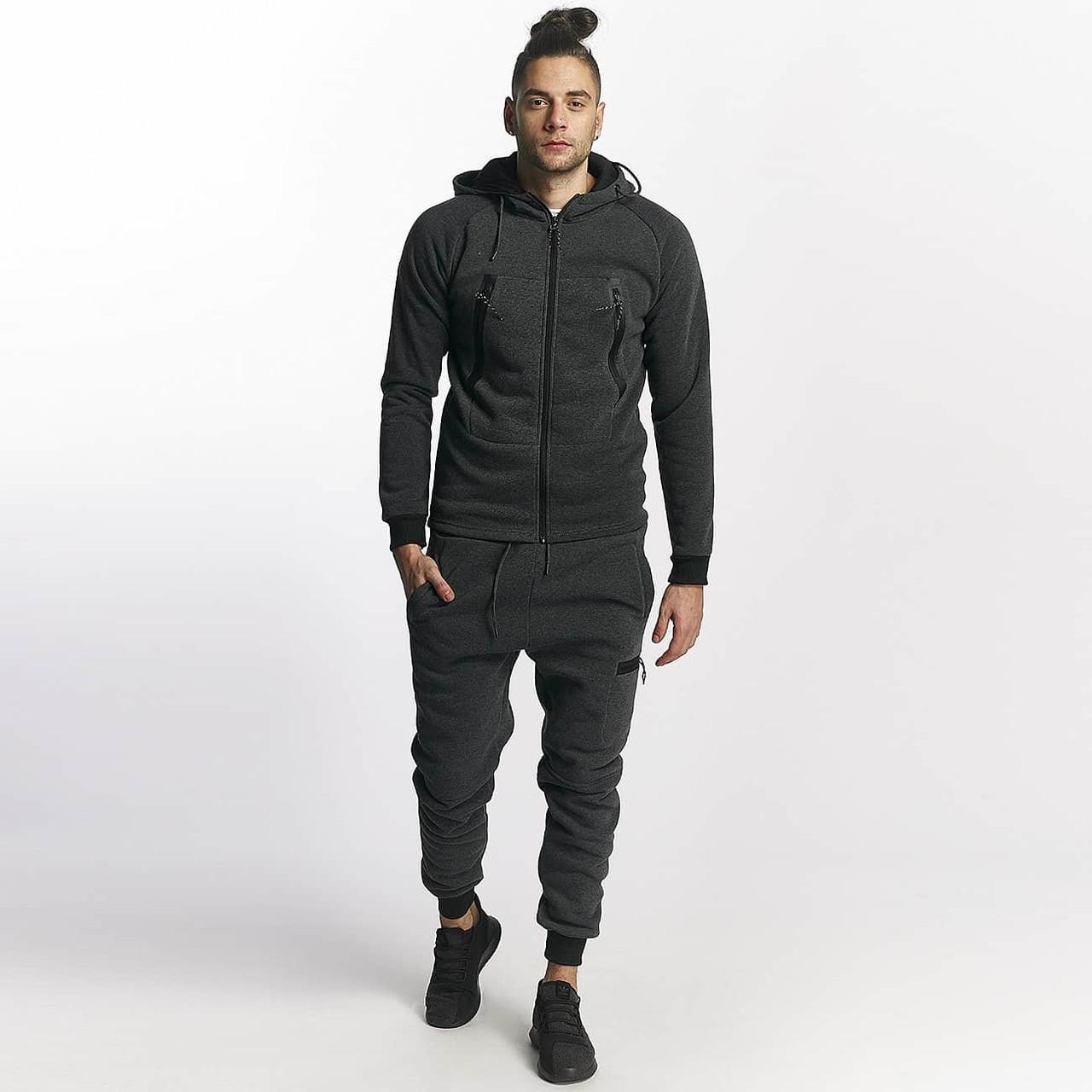 a5e04a42a0e6 Теплый мужской спортивный костюм с большими карманами антрацит - Bigl.ua